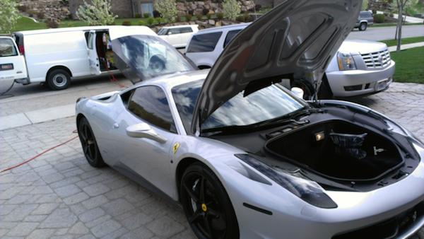 A Ferrari receives the ultimate in car care -- purposeful detailing.