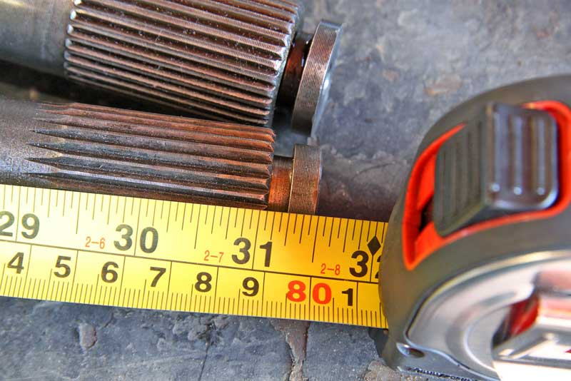 Axles are measured in both length and spline count. The more splines, the larger diameter. This has to match the differential.