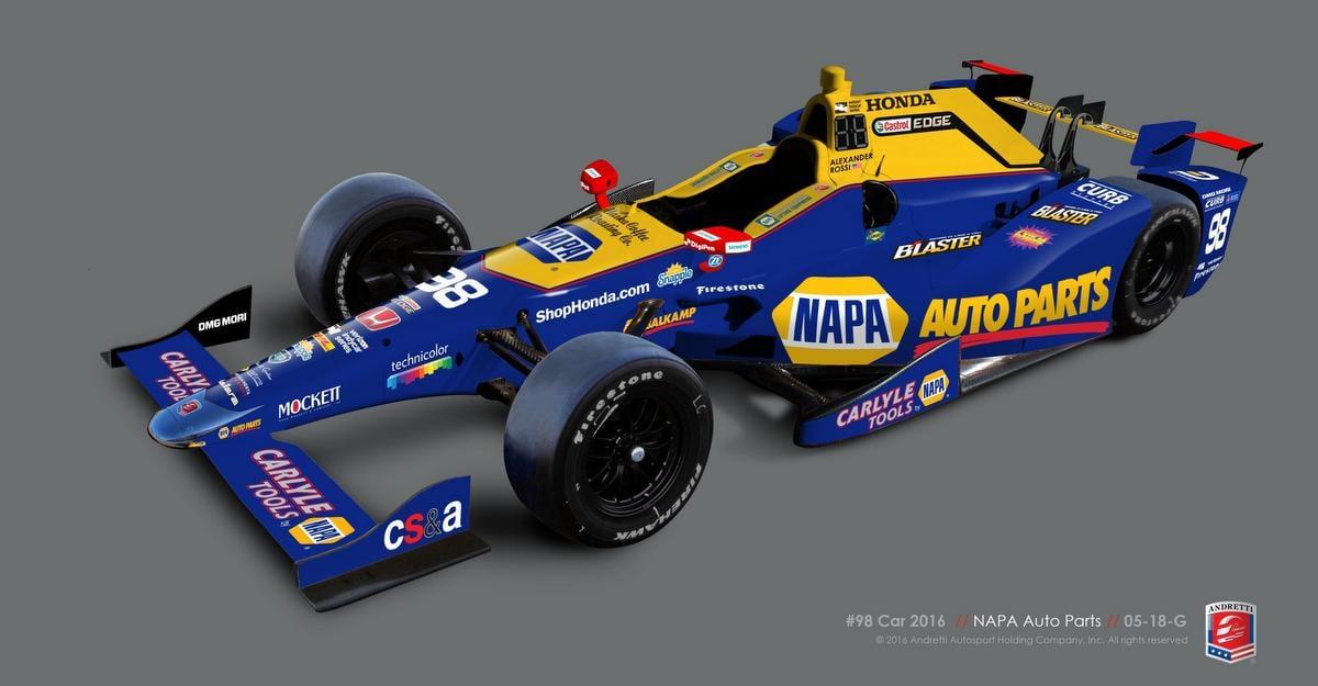 NAPA AUTO PARTS No. 98 Honda Alexander Rossi Indy 500 2016 Andretti Autosport