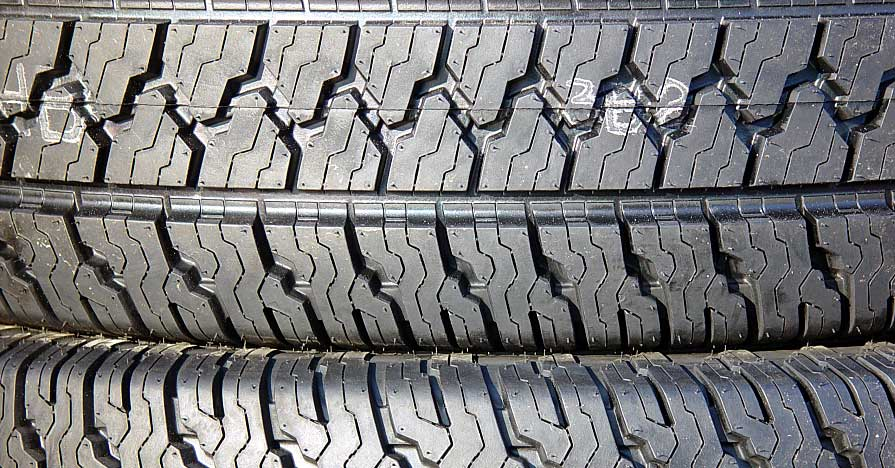 Stacked car tires.