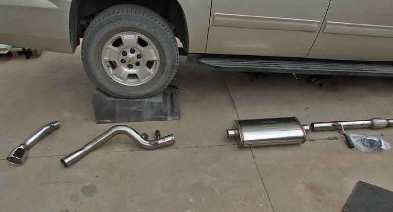 It is a good idea to lay out the new exhaust components in order. This makes the install go a little faster.