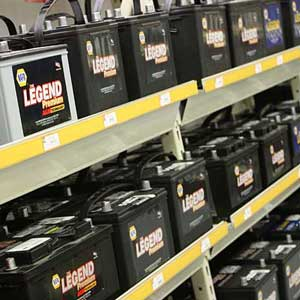 batteries on a shelf