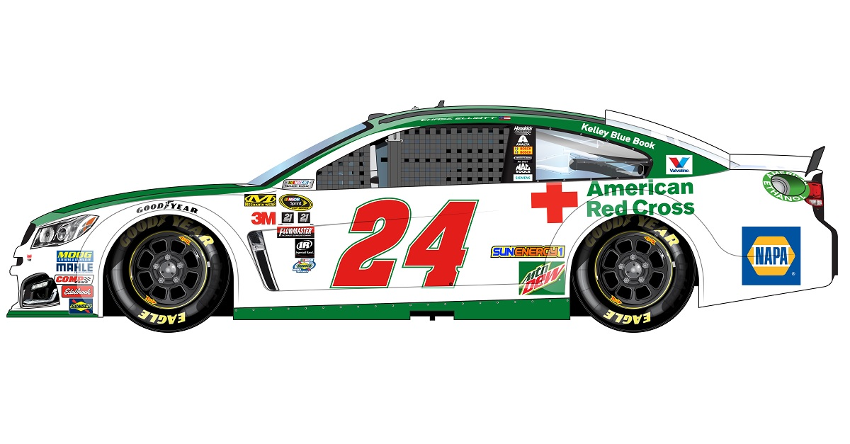 Chase Elliott NAPA 24 American Red Cross paint scheme Richmond 2016