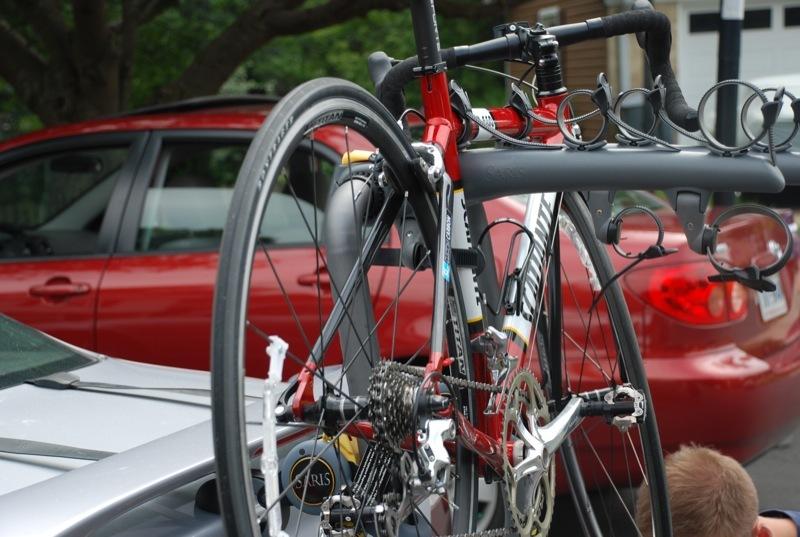 Bike mounted to a trunk rack