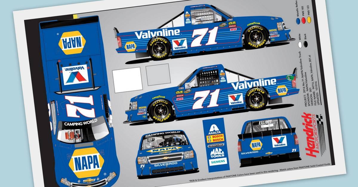 Chase Elliott Martinsville NASCAR Truck 71 paint scheme rendering