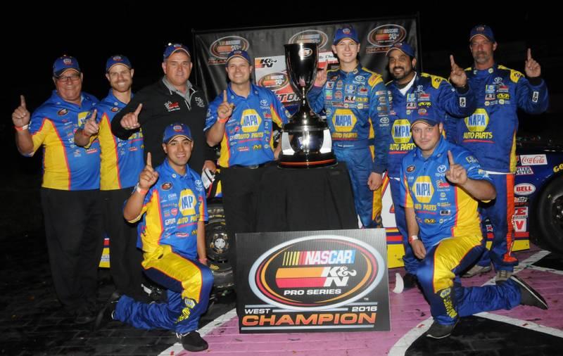 Todd Gilliland K&N West Championship 2016 NASCAR Roseville VL crew NAPA hats