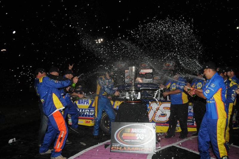 Todd Gilliland K&N West Championship 2016 NASCAR Roseville VL team spraying bubbly