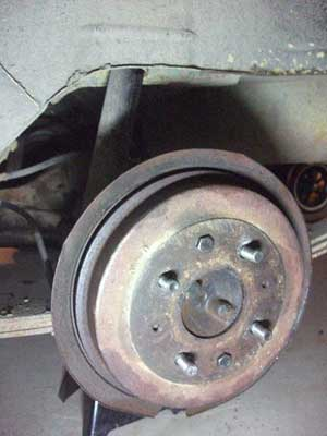 Rear drum brake on my Mazda 808. All finished replacing the brake cylinder just need to bleed brakes now.