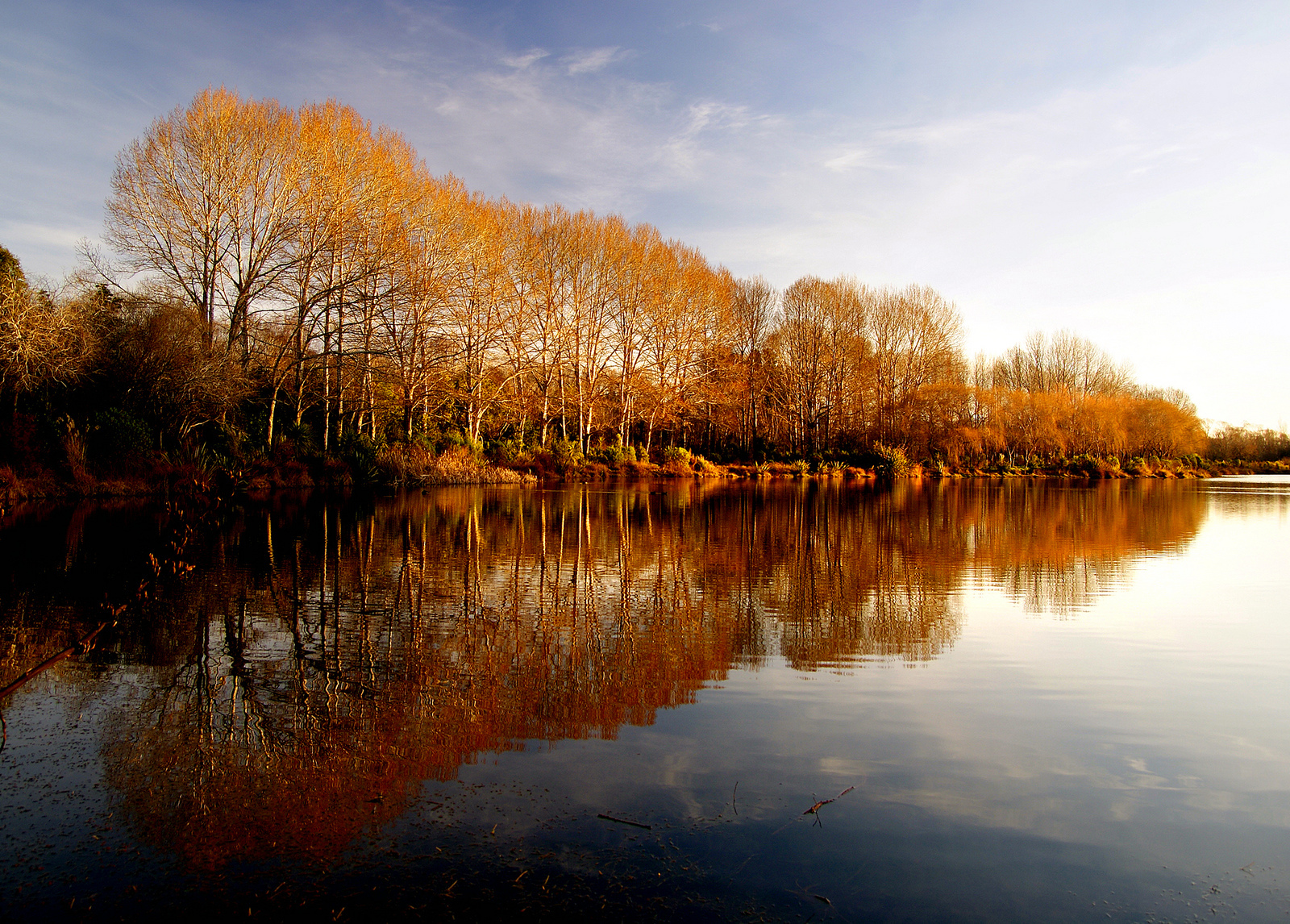 Fall colors reflecting on a lake