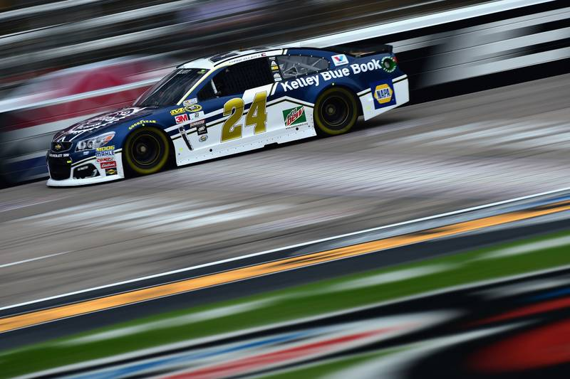 FORT WORTH, TX - NOVEMBER 04: Chase Elliott, driver of the #24 Kelley Blue Book Chevrolet, practices for the NASCAR Sprint Cup Series AAA Texas 500 at Texas Motor Speedway on November 4, 2016 in Fort Worth, Texas. (Photo by Jared C. Tilton/Getty Images)