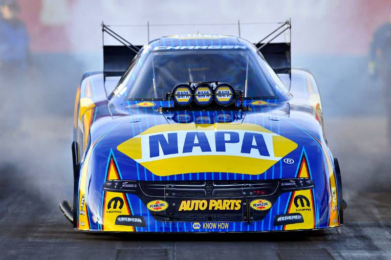 Ron Capps NAPA AUTO PARTS 2017 Dodge Charger R/T led by crew chief Rahn Tobler.