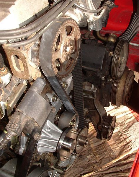Timing Belt with covers off, Nissan RB30E Engine
