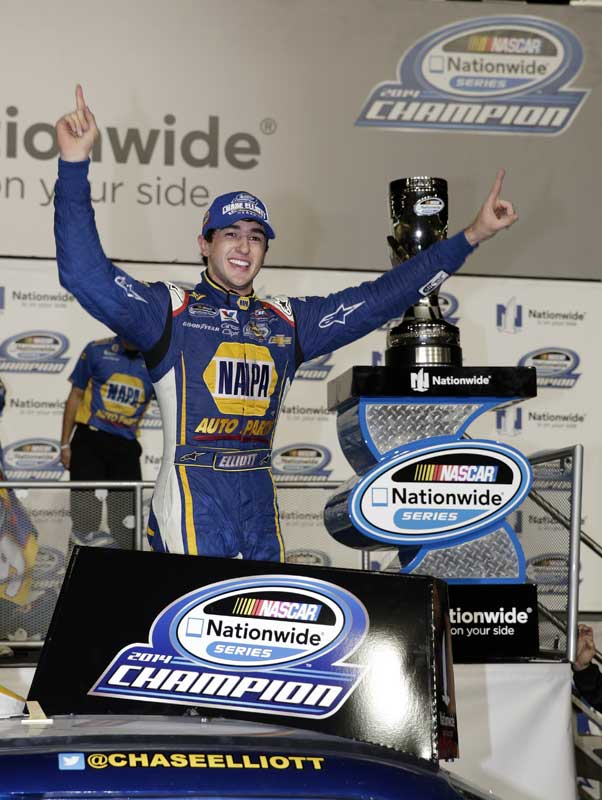 November 15, 2014: Chase Elliott wins the 2014 NASCAR Nationwide Series Championship during the Ford EcoBoost 300 at Homestead - Miami Speedway in Homestead Fl. (HHP/Harold Hinson)