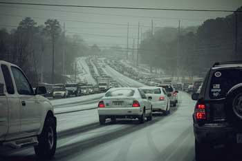 Heavy winter traffic