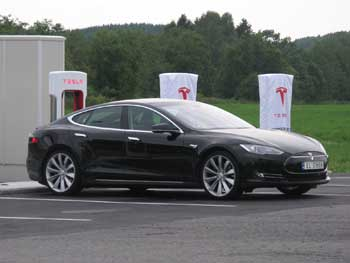 Tesla electric car parked