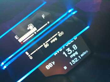 Fuel consumption display on dashboard