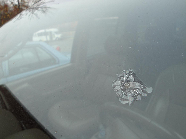 a chip in a car windshield