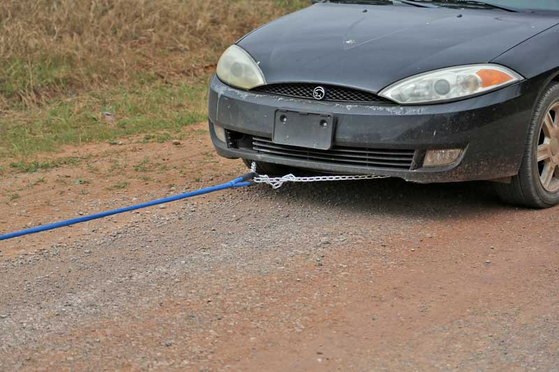 Towing is much easier with DitchPig® as it eliminates the jerking and popping experienced with static rope.