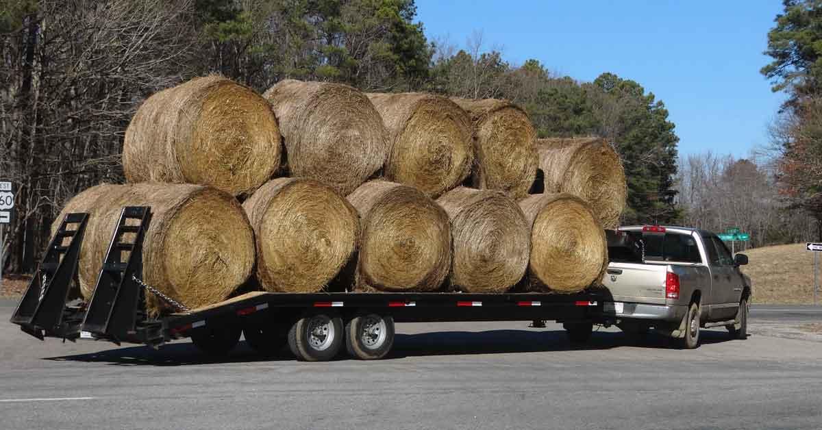 Towing hay bales