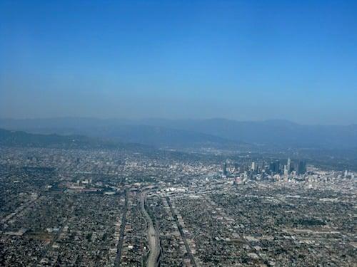 Smog-shrouded mountains near Los Angeles.
