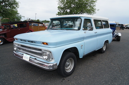 This early Chevrolet Suburban was also sold as the GMC Suburban.