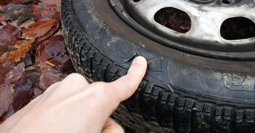 a tire with a puncture