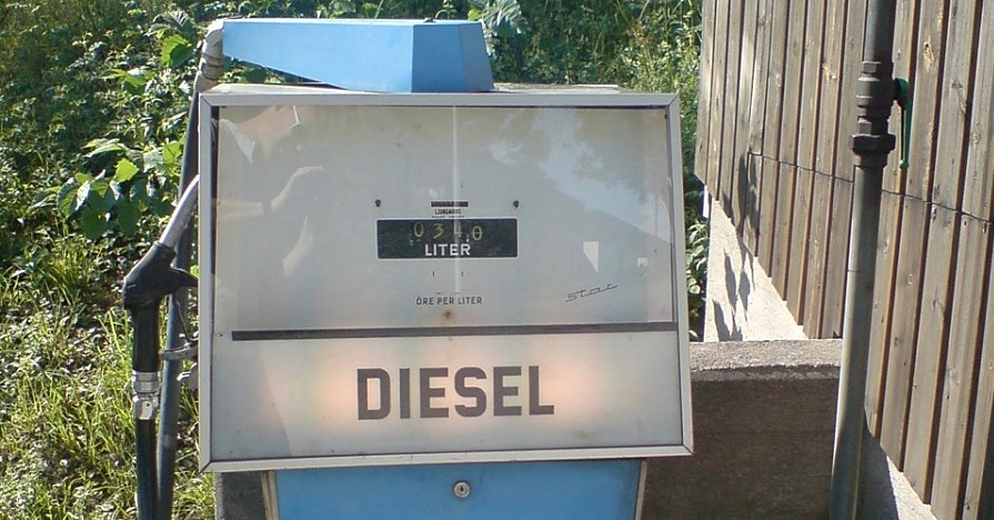 Diesel exhaust fluid can usually be found at gas stations that have a diesel pump, like this one.