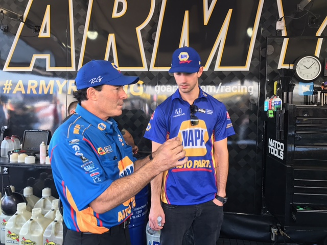 Ron Capps talking with crew