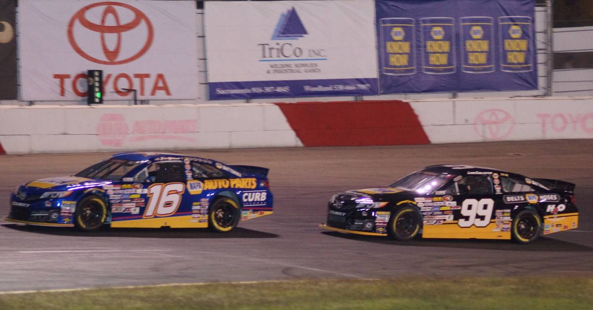 Todd Gilliland Top Five All American Speedway NASCAR KN West 2017 leading Eggleston