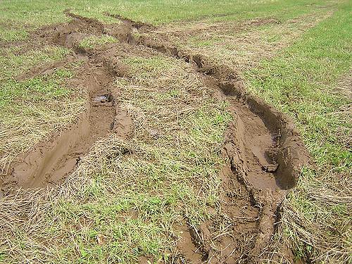 deep tire treads in mud