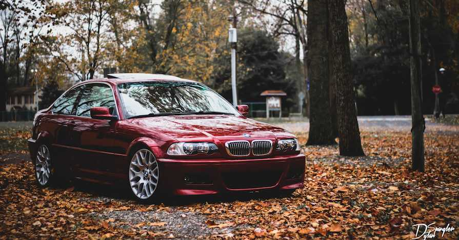A polished sedan in the autumn.