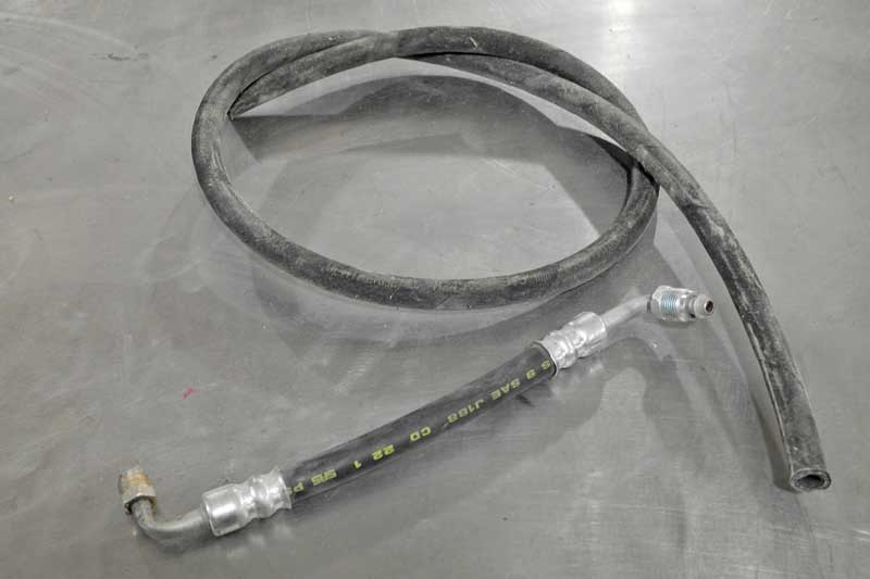 Hydraulic hose must hold thousands of pounds of pressure, and requires special fittings to support it.