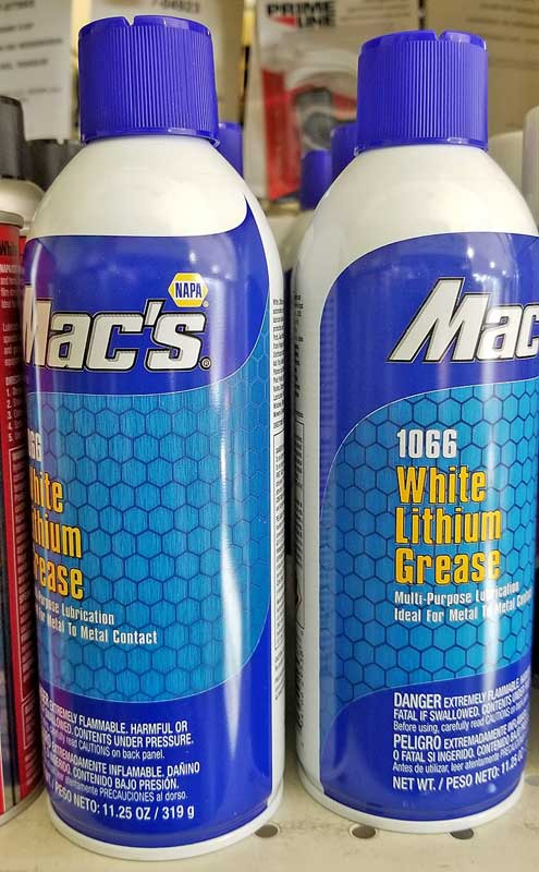 White lithium grease is available in an aerosol can or a tube. It works great for hinges and metal-on-metal moving parts.