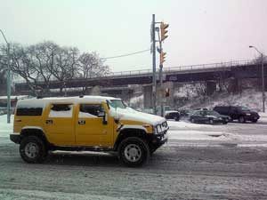 A Hummer on a wintry road