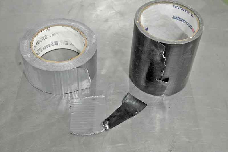 Classic Duck tape comes in many flavors and colors. The silver stuff on the right is light duty, very thin. The stronger stuff on the right is nearly twice as thick and more durable with better adhesion.