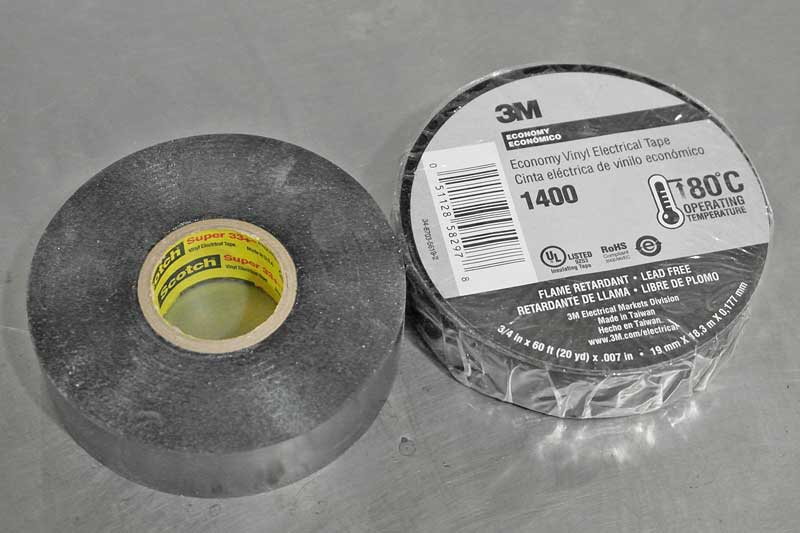 Electrical tape is critical for electrical repair, so don't skimp with cheap tape. Only use quality electrical tape such as 3M Super 33+
