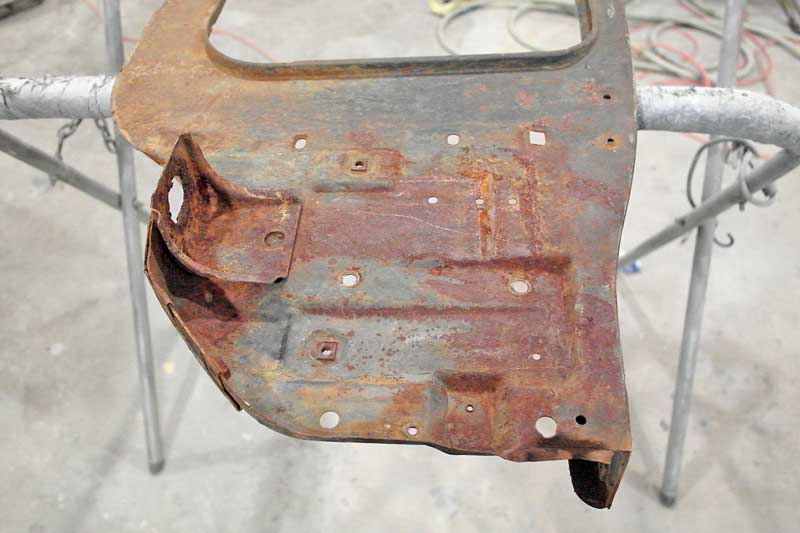 This core support for a 1967 Camaro is not in horrible shape, but it definitely needs some love. RustProof M/D will transform this into a nice part again.
