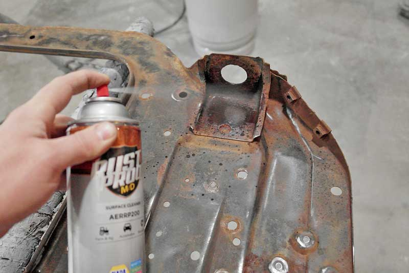 The entire surface must be prepped with the RustProof cleaner. This helps show you any paint that could lift, as well as preps the metal for adhesion.