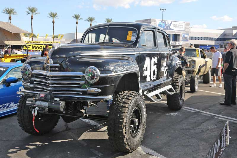 While many of the cars you see at SEMA are top-end builds, you will also see some oddballs, like this 1946 Plymouth Deluxe that has been dropped onto a 4x4 truck chassis.
