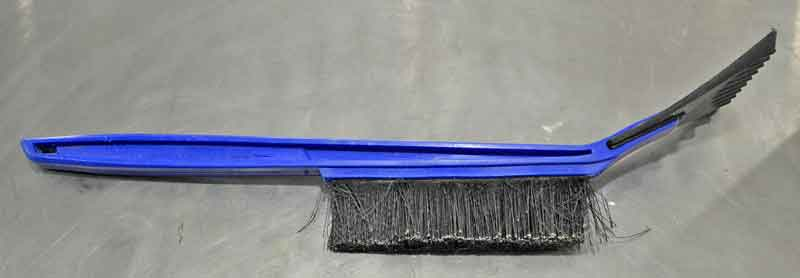 A good quality scraper brush is a must-have for winter weather. Make sure it is all plastic, no metal blades. A metal blade will damage the coating on the glass.