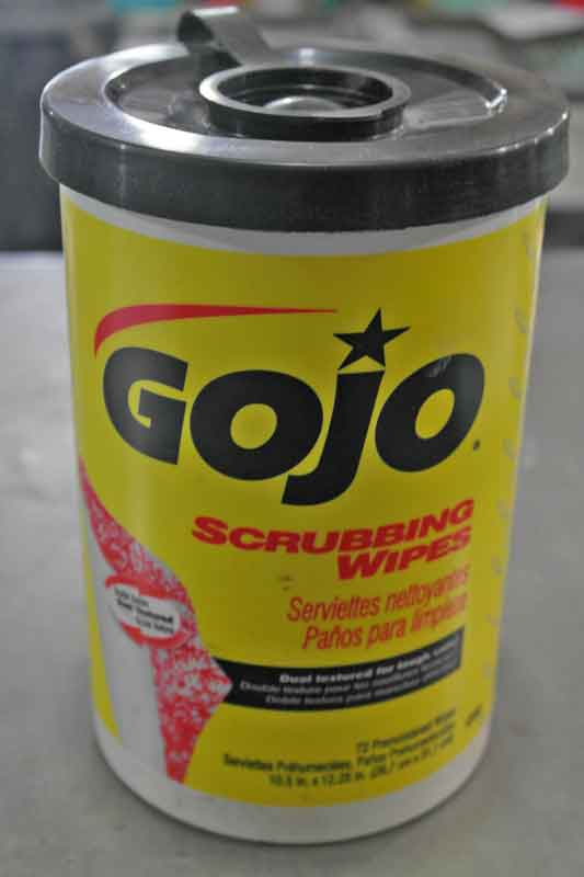 Waterless hand cleaner is a necessity for any garage, and these GoJo hand wipes are even better. Just pull a towel from the container, clean up and toss it in the trash. These are great for in the car too.