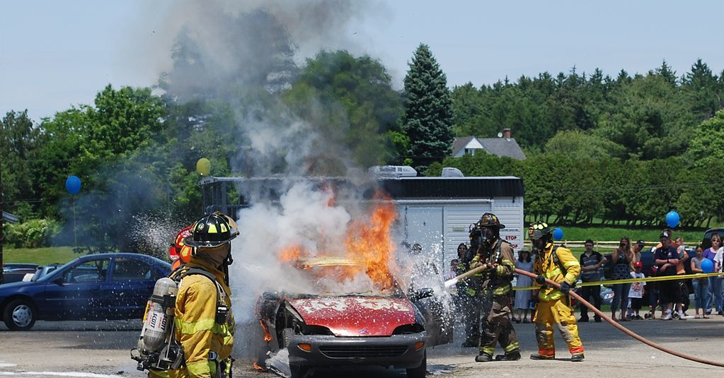 Firefighters train on a staged car fire in Union Vale, N.Y.