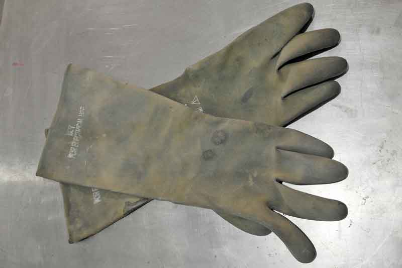 These heavy-duty rubber gloves protect your human skin from being eaten away by acids and other nasty substances you may have to deal with. Keep a set on hand (literally).