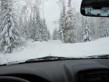 Winter view from inside a car.