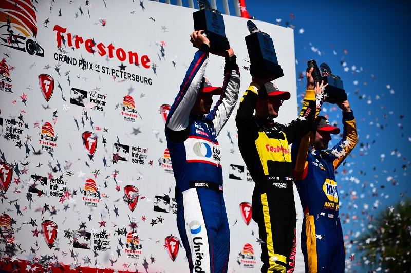 |Photographer: Jamie Sheldrick|Session: podium|Event: Grand Prix of St Petersburg|Circuit: St Petersburg|Location: Florida|Series: Verizon IndyCar Series|Season: 2018|Country: US|Car: Honda|Number: 15|Team: Rahal Letterman Lanigan Racing|Driver: Graham Rahal|Car: Honda|Number: 18|Team: Dale Coyne Racing|Driver: Sebastien Bourdais|Car: Honda|Number: 27|Team: Andretti Autosport|Driver: Alexander Rossi|