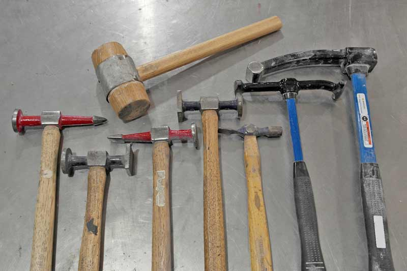 an assortment of hammers