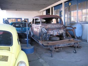 classic car in an auto body shop