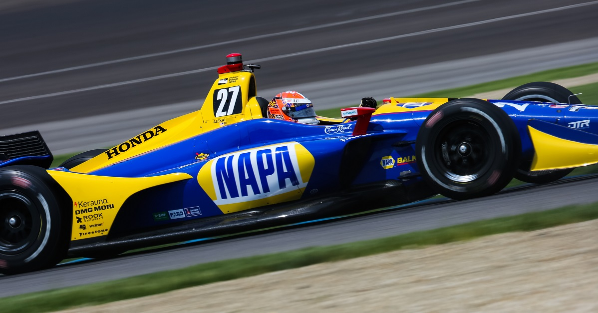 | Driver: Alexander Rossi| Team: Andretti Autosport| Number: 27| Car: Honda|| Photographer: Andy Clary| Event: IndyCar Grand Prix | Circuit: Indianapolis Motor Speedway| Location: Indianapolis| Series: Verizon IndyCar Series| Season: 2018| Country: US|| Session: P2|