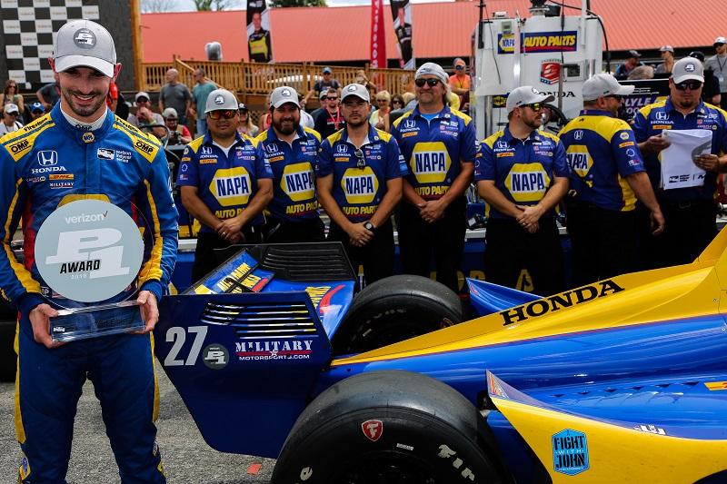 | Driver: Alexander Rossi| Team: Andretti Autosport| Number: 27| Car: Honda|| Photographer: Andy Clary| Event: Honda Indy 200| Circuit: Mid-Ohio Sportscar Course| Location: Lexington, Ohio| Series: Verizon IndyCar Series| Season: 2018| Country: US| Keyword: motor racing| Keyword: motorsport|| Session: Qualifying| | Keyword: P1|| Keyword: pole position|| Keyword: pole award|