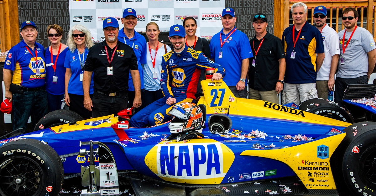 | Driver: Alexander Rossi| Team: Andretti Autosport| Number: 27| Car: Honda|| Keyword: winner|| Keyword: victory lane|| Keyword: victory circle|| Keyword: winner circle|| Keyword: podium|| Photographer: Andy Clary| Event: Honda Indy 200| Circuit: Mid-Ohio Sportscar Course| Location: Lexington, Ohio| Series: Verizon IndyCar Series| Season: 2018| Country: US| Keyword: motor racing| Keyword: motorsport|| Session: Race|